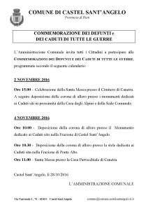 COMMEMORAZIONE DEI DEFUNTI e DEI CADUTI DI TUTTE LE GUERRE – 2 e 4 Novembre 2016