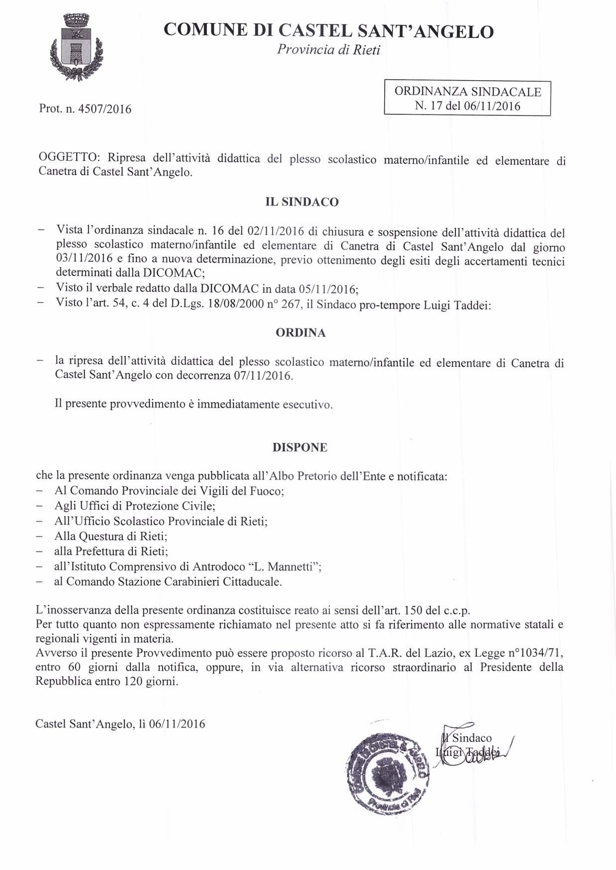 Ordinanza Sindacale n. 17 del 06/11/2016